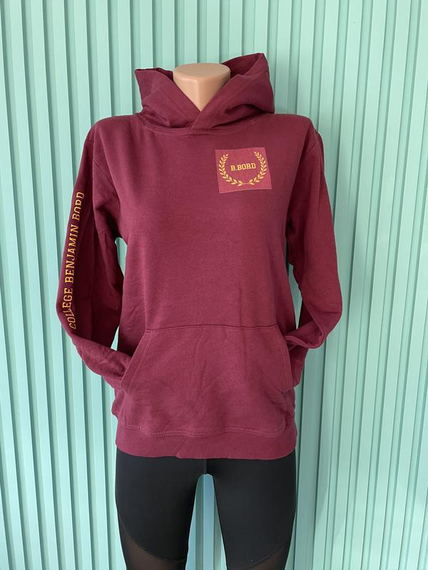 Бордовая толстовка, худи утеплённая подростковая spreadshirt