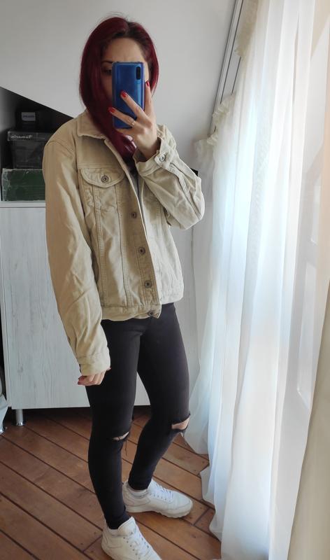 Акция! бежевая песочная куртка вельветовая джинсовка - Фото 8