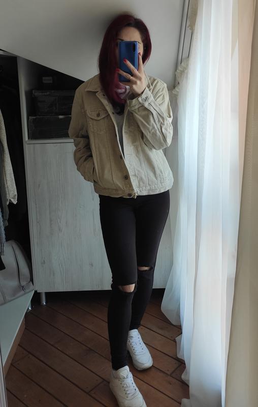 Акция! бежевая песочная куртка вельветовая джинсовка - Фото 9