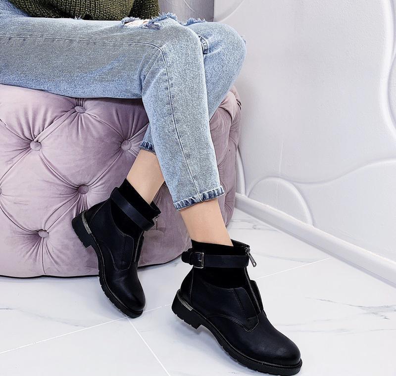 Новые шикарные женские черные демисезонные ботинки - Фото 6