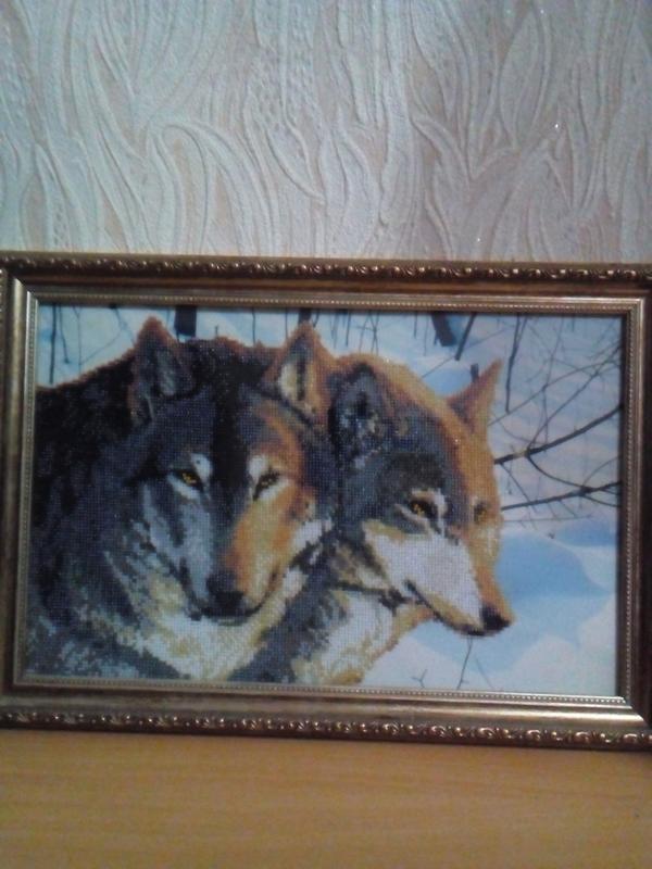 """Картина вышитая бисером """"Волки"""""""