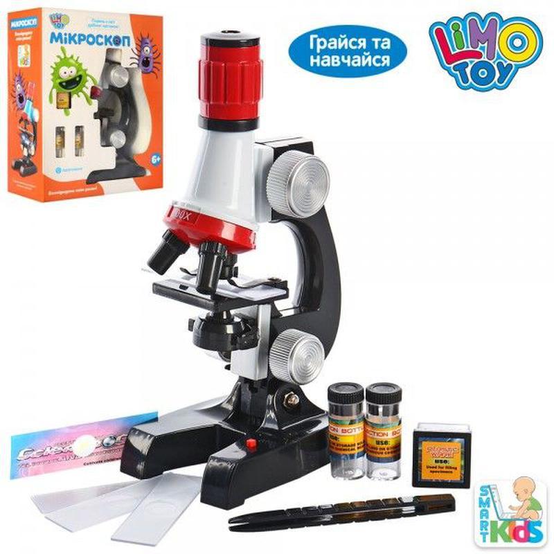 Микроскоп SK 0008 21см, свет, пробирки, стекла, на бат-ке, в ко