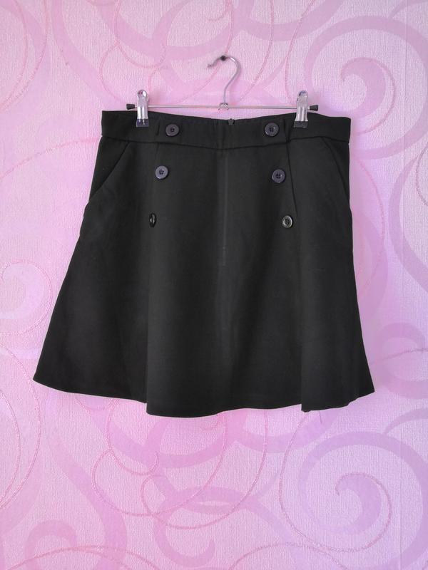 Черная юбка-мини, юбка-трапеция, короткая юбка для офиса, юбка...