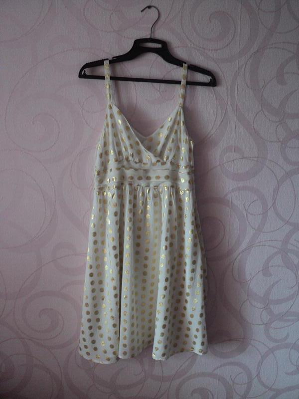 Белое платье в горошек, платье на выпускной, новый год, летнее...