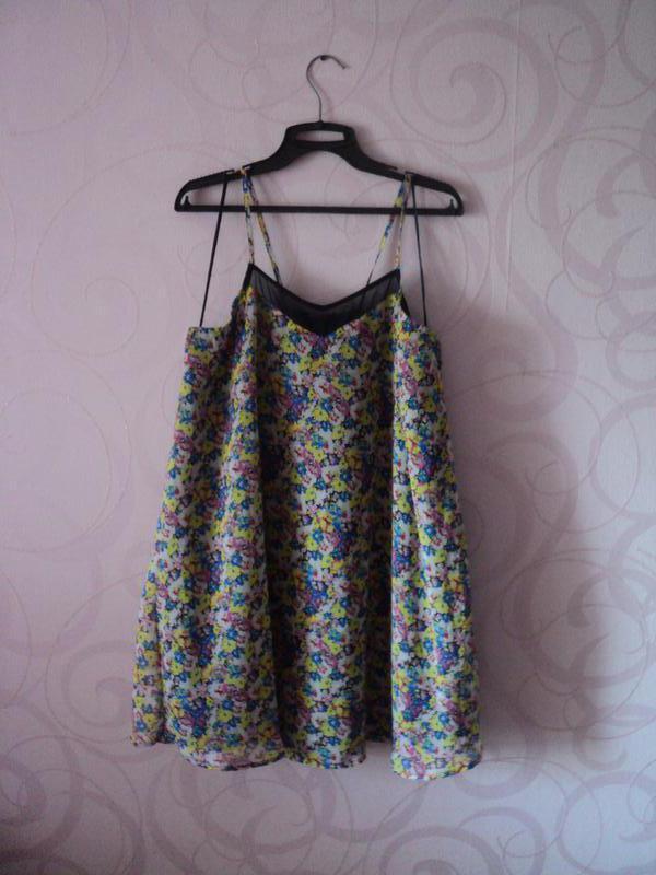 Сарафан с цветами, летнее платье на тонких бретельках, цветочн...