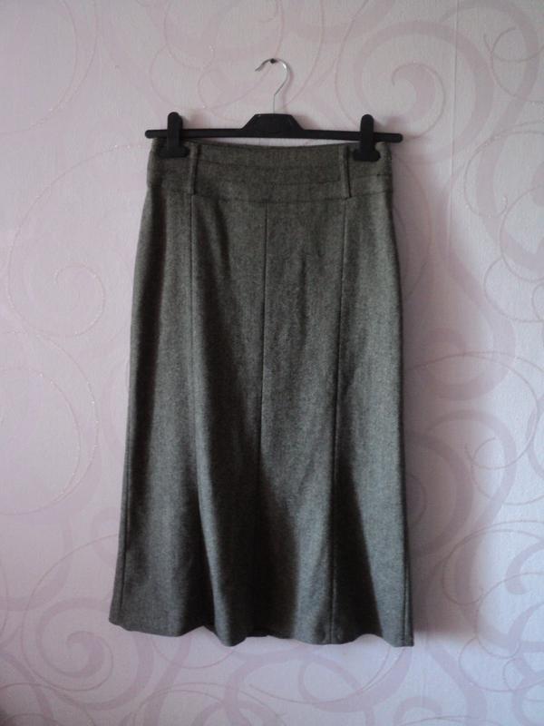 Коричневая юбка из шерсти, ретро, теплая офисная юбка, юбка на...