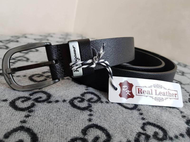 Ремень кожаный ferragamo черный из натуральной кожи - Фото 2