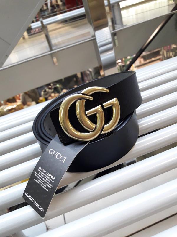 Кожаный ремень черный из натуральной кожи с золотой фурнитурой