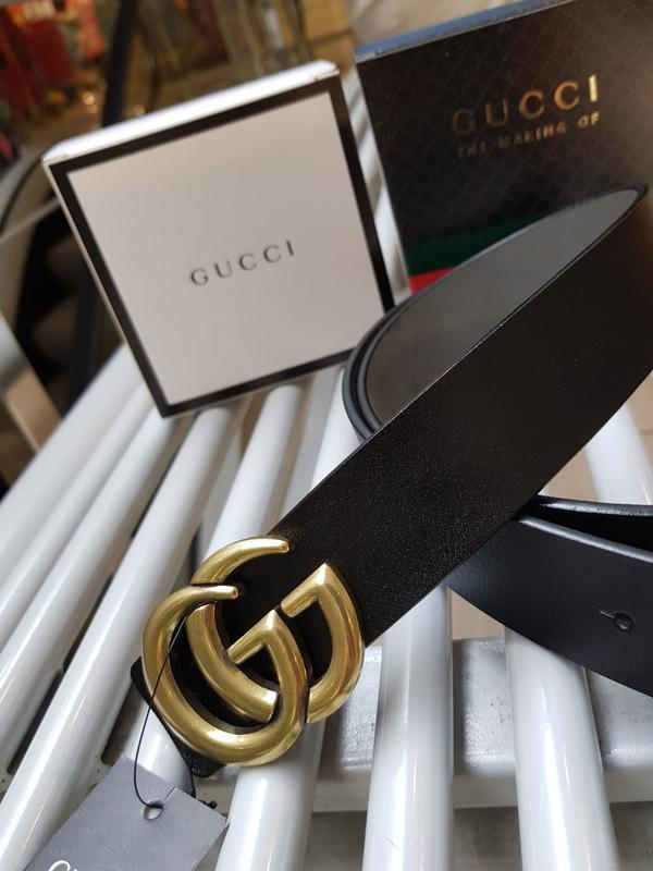 Кожаный ремень черный из натуральной кожи с золотой фурнитурой - Фото 3