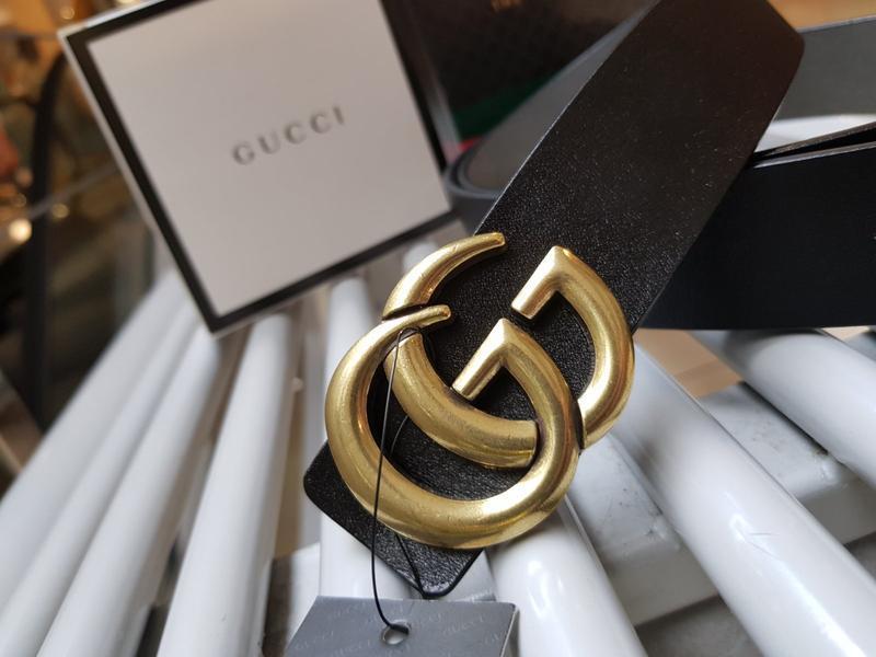 Кожаный ремень черный из натуральной кожи с золотой фурнитурой - Фото 4