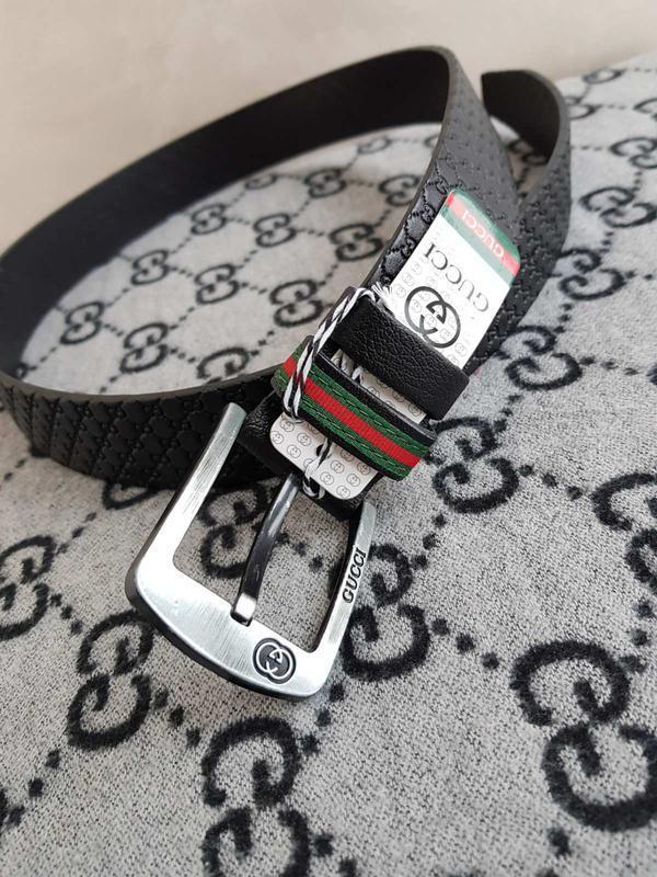 Кожаный джинсовый ремень черный из натуральной кожи - Фото 3