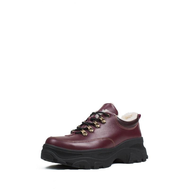 Зимние женские короткие бордовые ботинки. - Фото 2