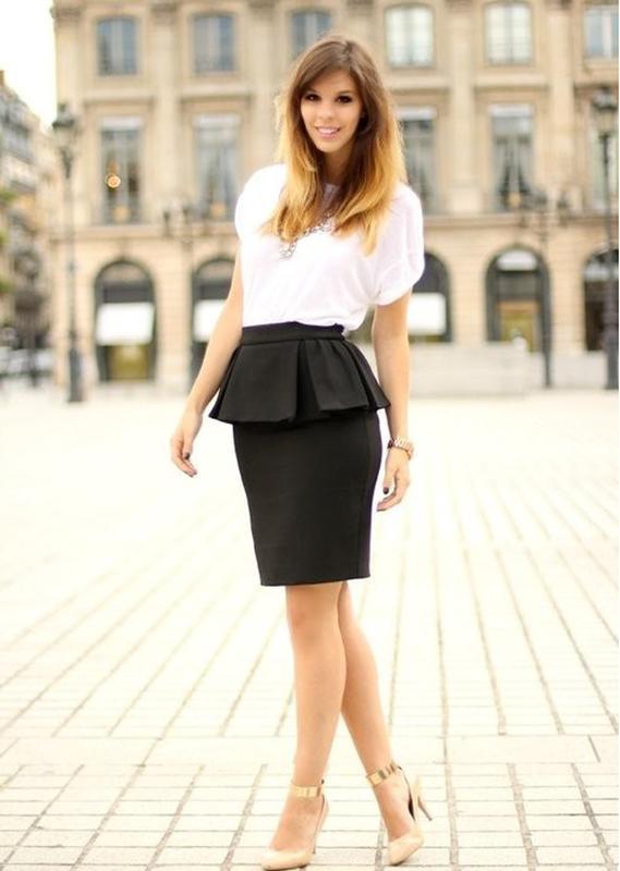 Нестандартная классическая юбка-карандаш с интересной баской m...