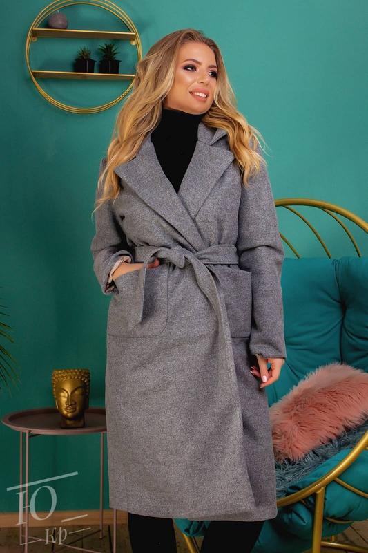 Пальто кашемировое батал женское - Фото 2