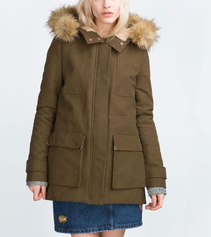 Теплая парка куртка zara зеленая хаки размер xs - Фото 2