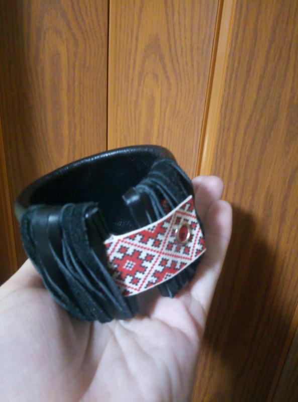 Стильный кожаный браслет, ручная работа. - Фото 3