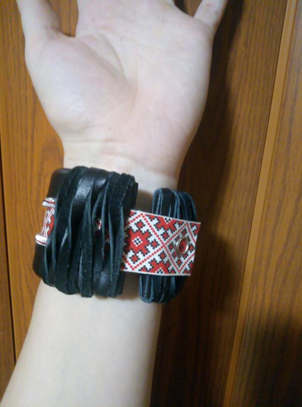 Стильный кожаный браслет, ручная работа. - Фото 4