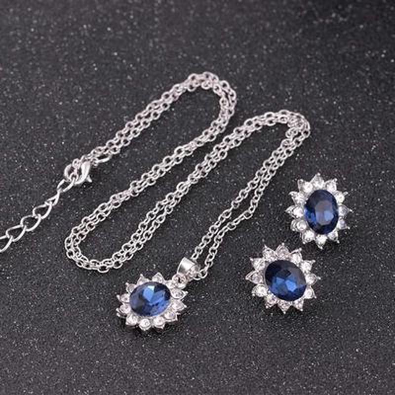Набор сапфир /ожерелье +серьги/стразы - Фото 3