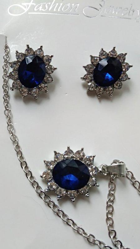 Набор сапфир /ожерелье +серьги/стразы - Фото 6