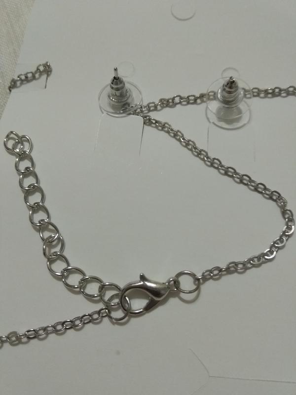 Набор сапфир /ожерелье +серьги/стразы - Фото 7