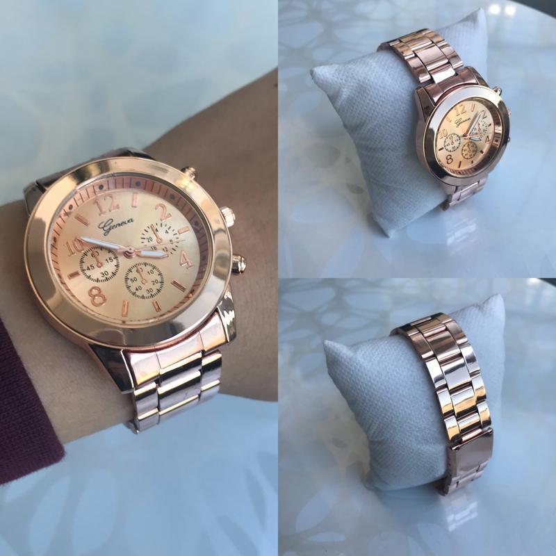 Женские красивые наручные часы женева geneva металлические роз... - Фото 4