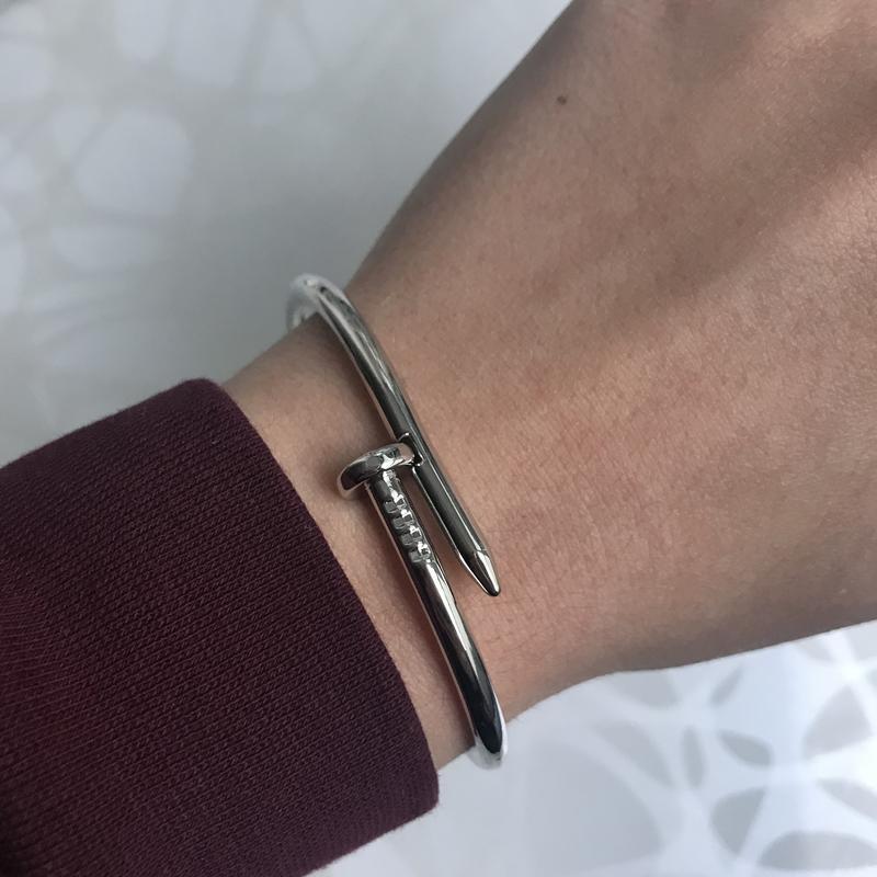 Женский металлический браслет гвоздь серебристый
