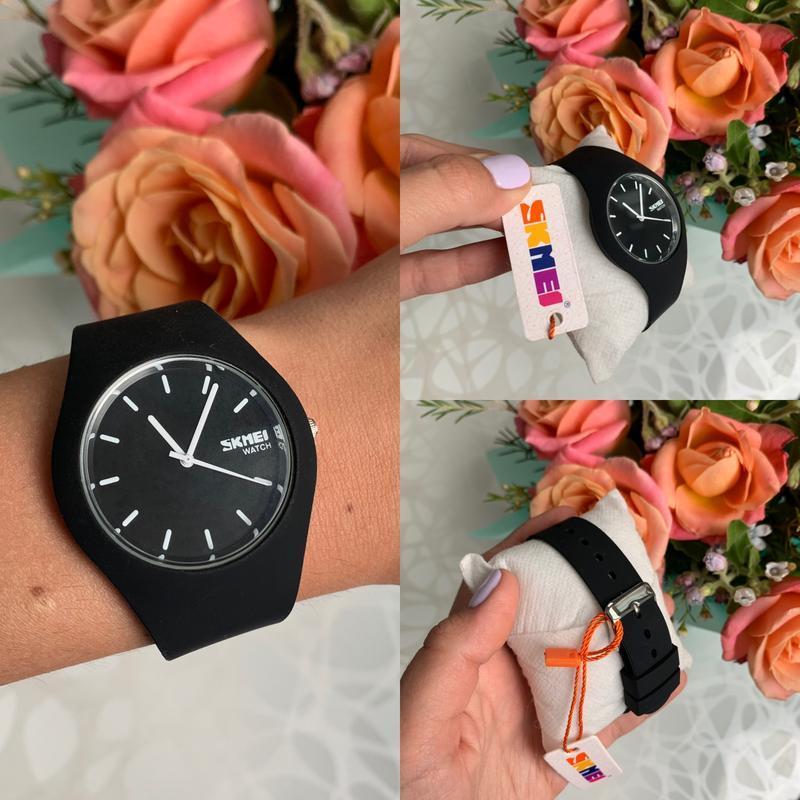 Силиконовые женские наручные чёрные часы skmei софт тач - Фото 4