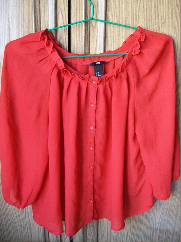 Яркая шифоновая блуза свободного кроя, размер s