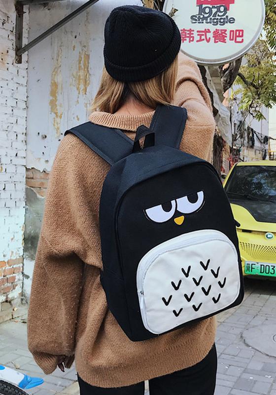Рюкзак городской сова черный - Фото 4