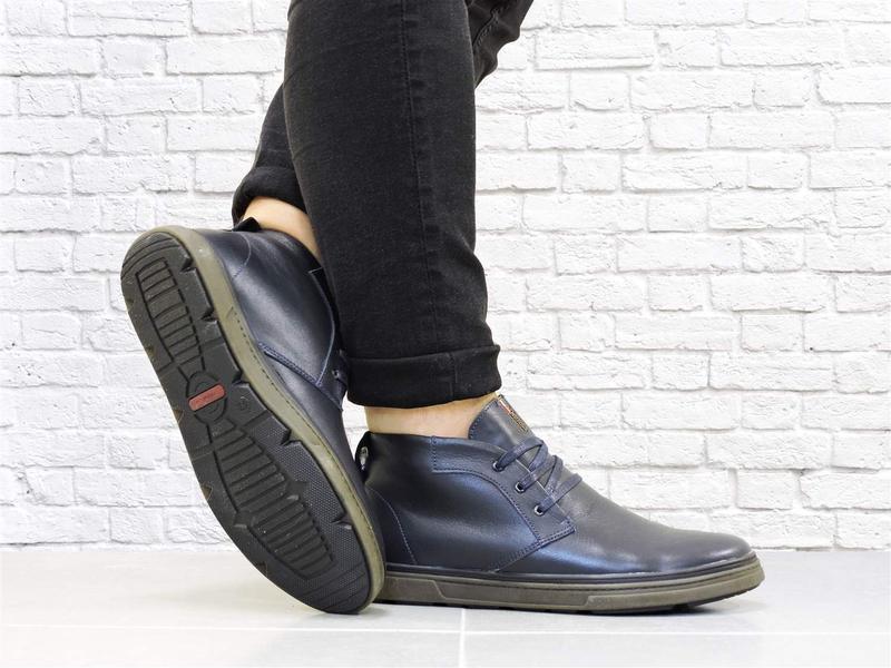 Зимние кожаные ботинки. синие. - Фото 2
