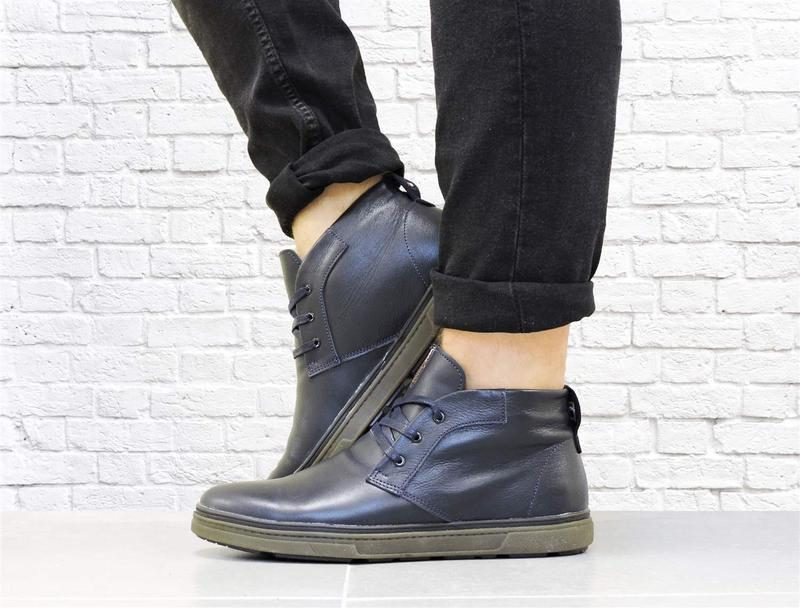 Зимние кожаные ботинки. синие. - Фото 3