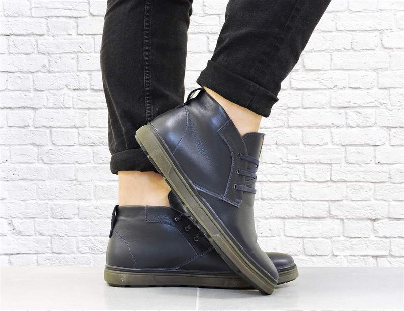 Зимние кожаные ботинки. синие. - Фото 4