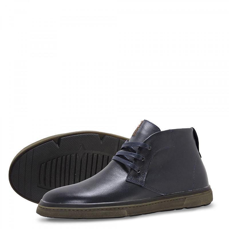 Зимние кожаные ботинки. синие. - Фото 9