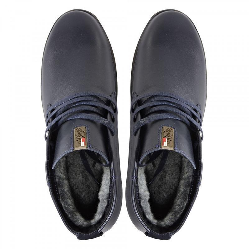 Зимние кожаные ботинки. синие. - Фото 10