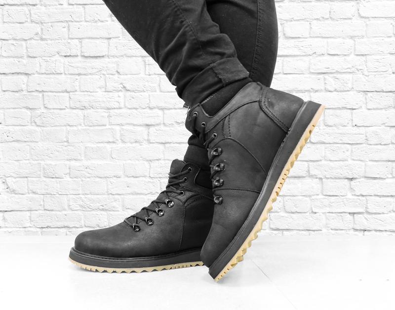 Зимние мужские кожаные ботинки boomer. черные. - Фото 2
