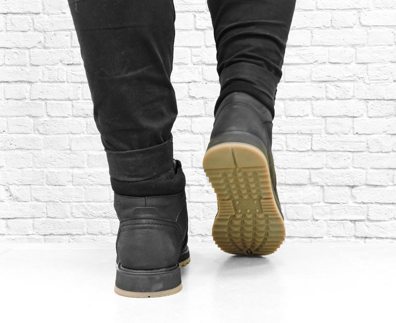 Зимние мужские кожаные ботинки boomer. черные. - Фото 5