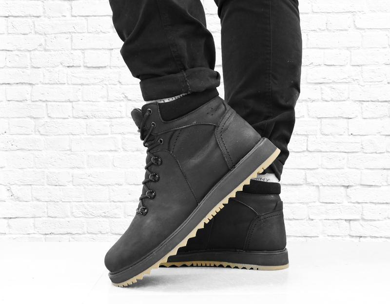 Зимние мужские кожаные ботинки boomer. черные. - Фото 6