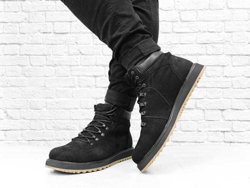 Зимние мужские ботинки из нубука boomer. черные. - Фото 2