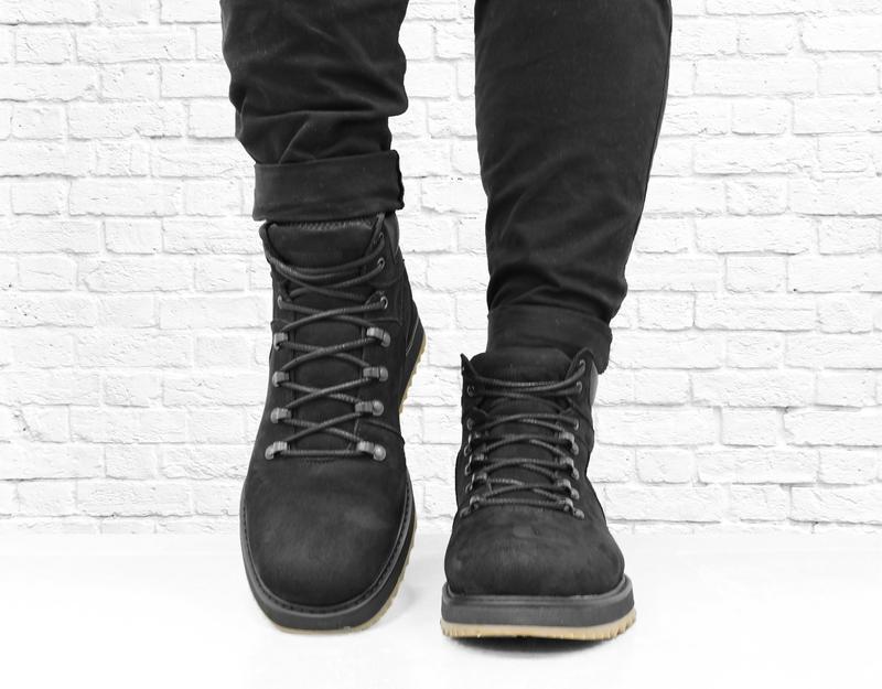 Зимние мужские ботинки из нубука boomer. черные. - Фото 3