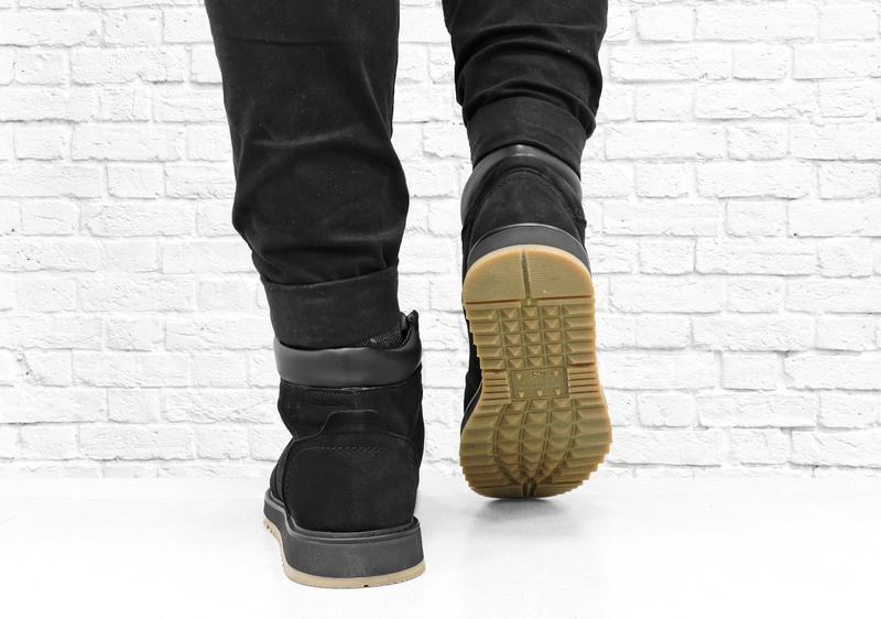 Зимние мужские ботинки из нубука boomer. черные. - Фото 4
