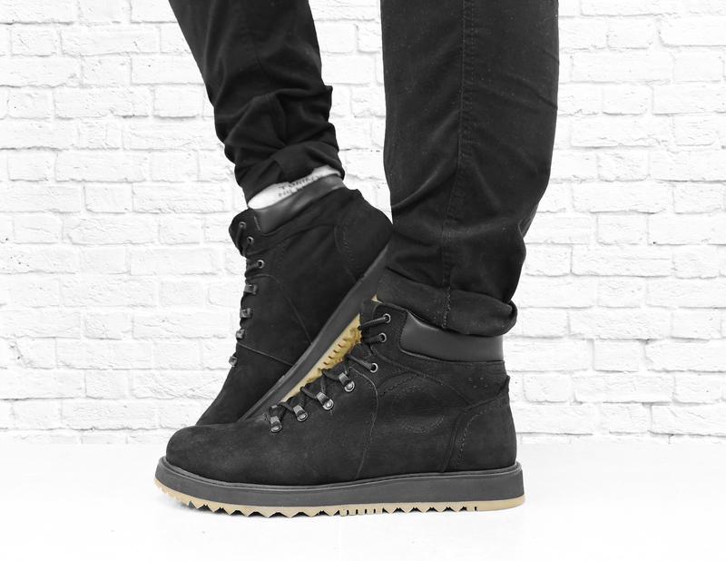 Зимние мужские ботинки из нубука boomer. черные. - Фото 5