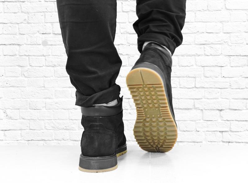 Зимние мужские ботинки из нубука boomer. черные. - Фото 6