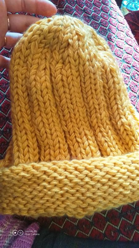 Шапка бини, шапка крупная вязка