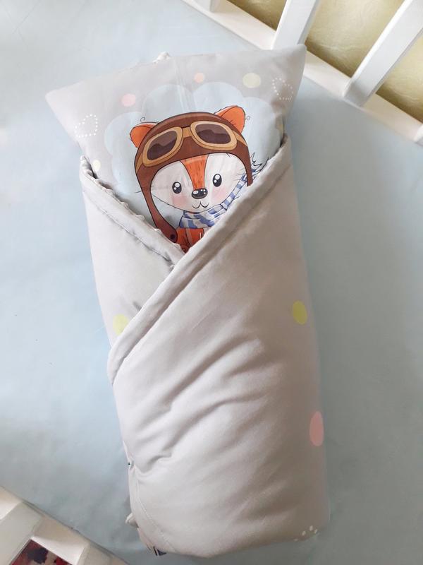"""Плед конверт с плюшем в коляску или кроватку """"лисенок"""" - Фото 2"""