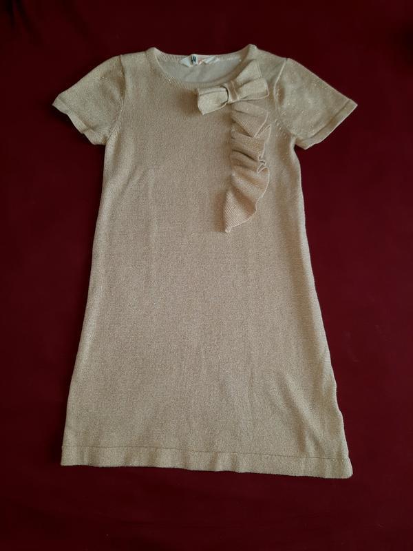 Платье h&m золотое люрекс 6 7 8 лет 116 122 128 134 сост нового