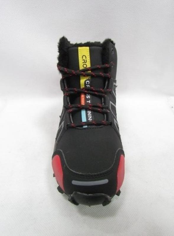 Зимние мужские высокие кроссовки ботинки черные с красным - Фото 2