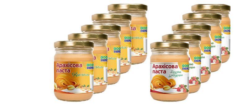 Упаковка Арахисовой пасты ТМ Good Energy 10 шт * 250 грамм