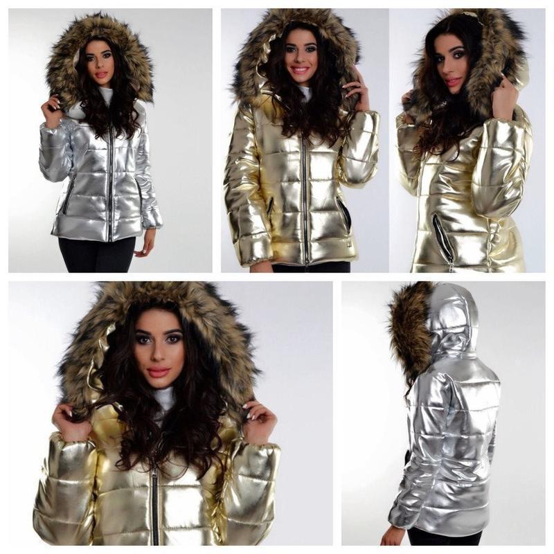 Хит 2018! зимняя куртка золотая куртка золотистая куртка р.46 - Фото 4