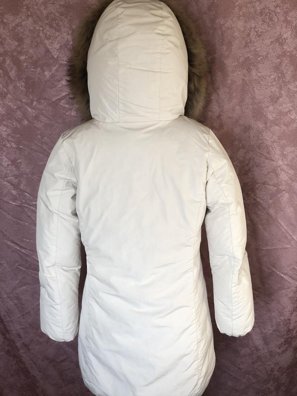 Теплый длинный зимний пуховик пальто парка woolrich  мех енота - Фото 2