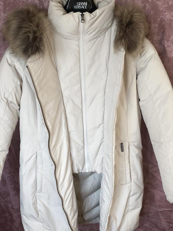Теплый длинный зимний пуховик пальто парка woolrich  мех енота - Фото 3